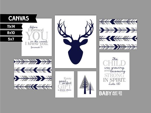 Grey Navy Boy Nursery canvas art prints Set of 7 Woodlands