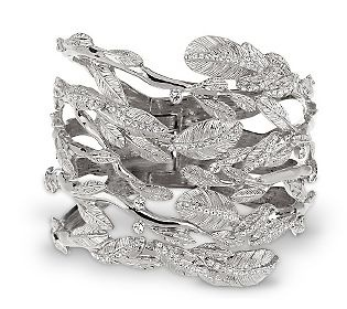 Luxe Rachel Zoe Crystal Accent Wrapped Leaves Hinged Bracelet.: Rachel Zoe, Crystals Accent, Zoe Crystals, Gold Cuffs, Accent Wraps, Hinges Bracelets, Leaves Hinges, Luxe Rachel, Wraps Leaves