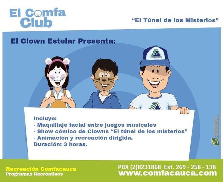 """""""El Túnel de los Misterios"""" Incluye: - Maquillaje facial entre juegos musicales - Show cómico de Clowns """"El túnel de los misterios"""" - Animación y recreación dirigida. Duración: 3 horas."""