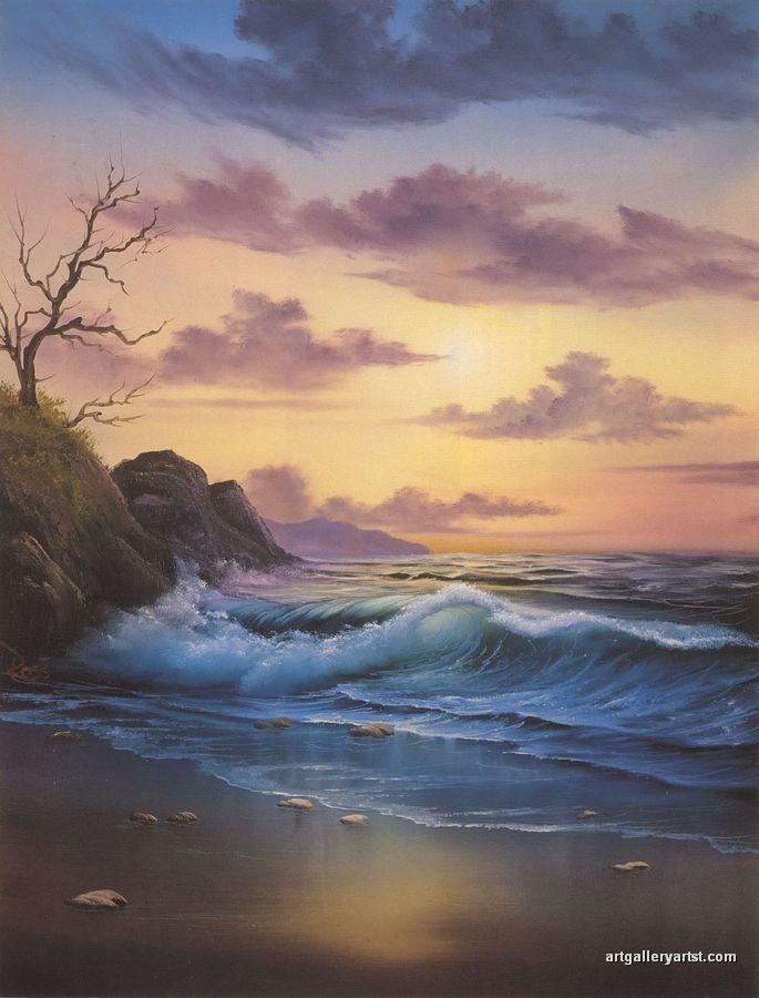 Beautiful ocean view, sea shore sunset