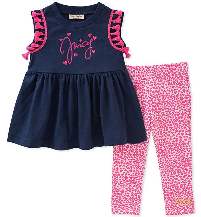 Amazon Com Juicy Couture Girls Fashion Top And Legging Set Clothing Girls Fashion Tops Girls Couture Juicy Couture Baby