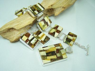 Mozaik unique amber jewellery set - amber jewellery.