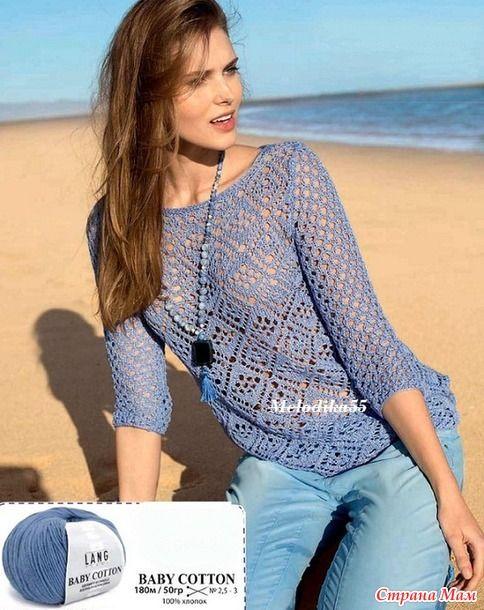 Очень понравилась -делюсь... Для тех, кому она покажется слишком скромной, предлагаю заменить ажуры... Взять их например с этого пуловера... получится пляжная туника...