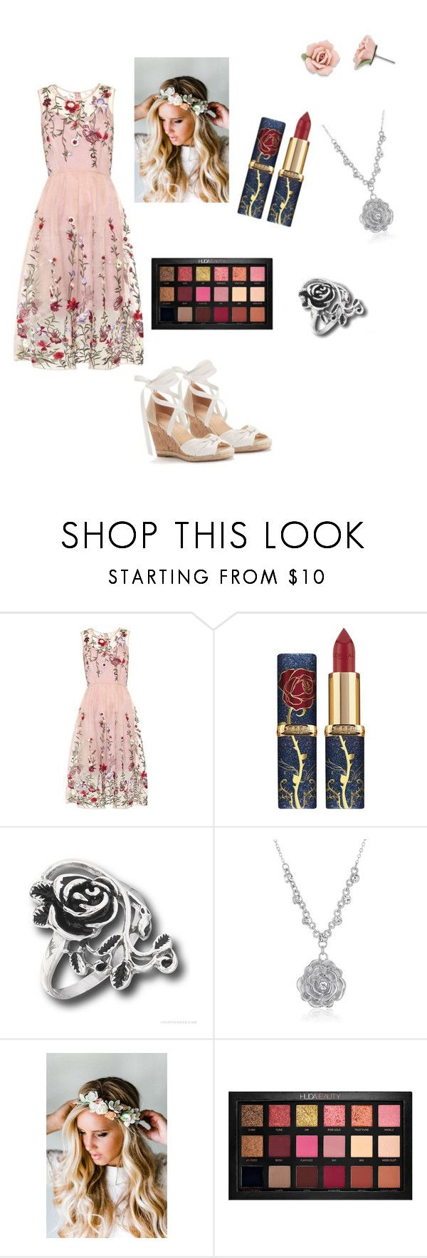 """""""Delicate Rose"""" by strawberries2008 on Polyvore featuring 1928, Emily Rose Flower Crowns and Huda Beauty"""