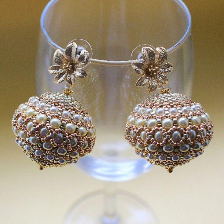 """Купить Серьги """"Нежность"""" - золотой, кремовый, кремовый жемчуг, жемчужные серьги, свадьба, свадебные аксессуары"""