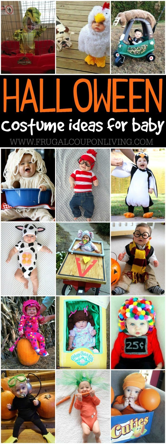 Creative Baby Halloween Costume Ideas and where to buy them. A fun mix of Homemade Halloween costume ideas and costumes found in the store. Details on Frugal Coupon Living.