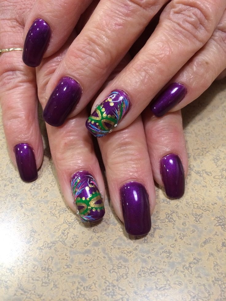 61 best Mardi gras images on Pinterest | Belle nails, Cute nails and ...