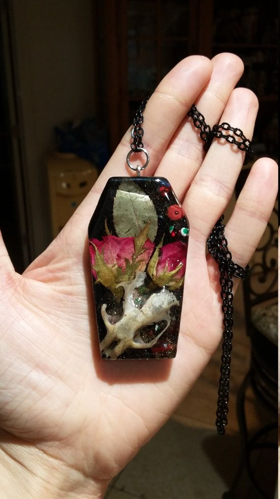 Coffin, Bones, and Roses Pendant, funeral, mourning, taxidermy jewelry, bone art, real skull, roses, goth, victorian, real bone jewelry