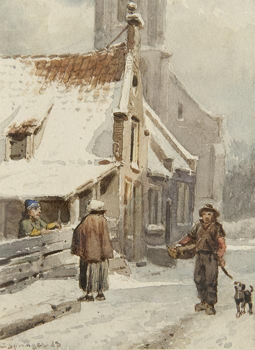 Cornelis Springer – Figuren op het Kerkpad te Zandvoort in de winter