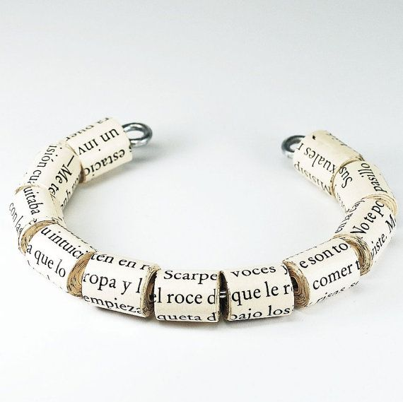 Paper Bead Bracelet- Upcycled Spanish Paper Bead Jewelry Cuff Bracelet, Spanish Jewelry, Paper Jewelry