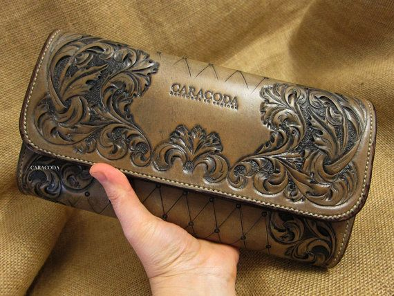 Leather clutch Heidi long hand held tooled carved veg by CARACODA