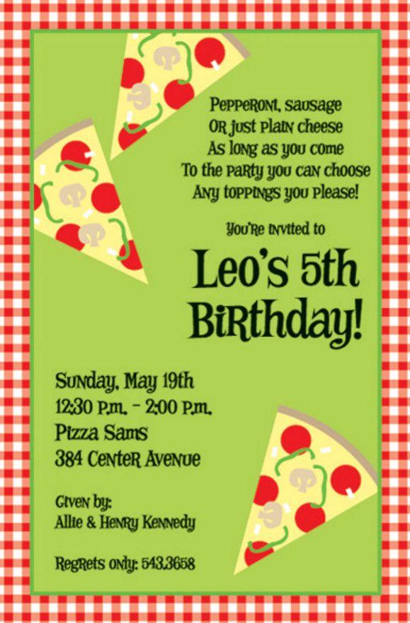 pizza birthday party invitation wording  Pizza Party