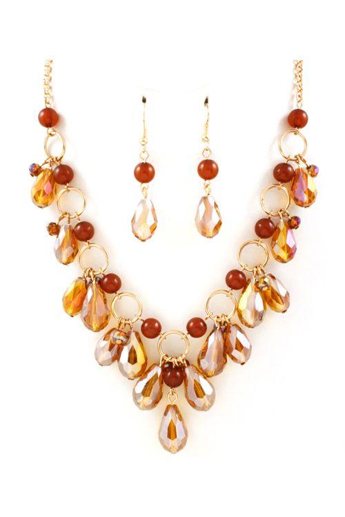 Briella Necklace in Autumn Crystal