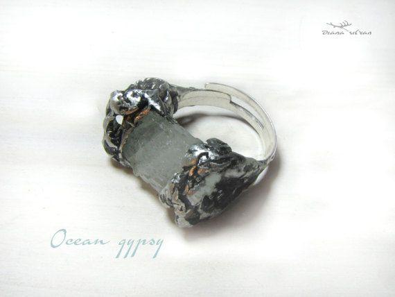 Raw aquamarine ring one size aquamarine ring Ocean