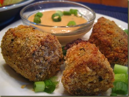 Baked boudin balls (used 2 lbs of boudin from a local Cajun restaurant instead of store-bought)
