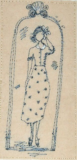 Betty and flower, embroidery by Michelle Holmes