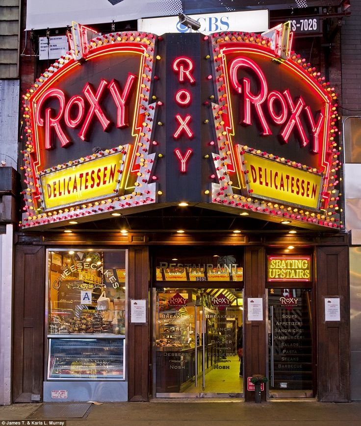 "Roxy Delicatessen, New York City. Photo by James and Karla Murray, from their book ""New York Nights"" published in December 2012."