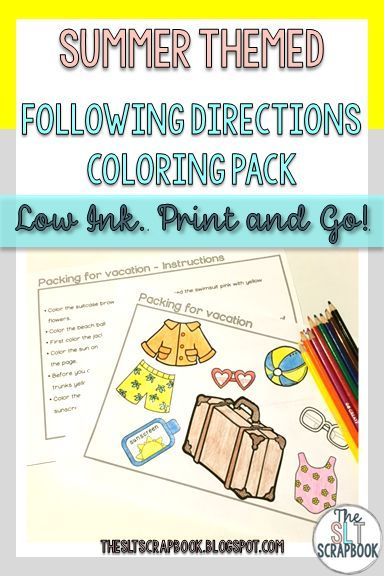 Summer Following Directions Coloring Pack No Prep Summer Homework