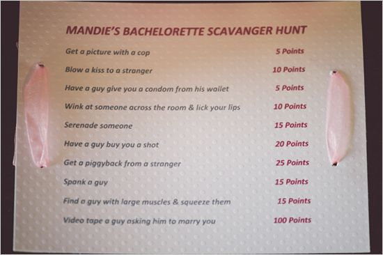 bachelorette scavanger hunt ideas. You must see more of this sweet and sexy bachelorette party http://www.weddingchicks.com/2013/08/27/sexy-bachelorette-party-ideas/