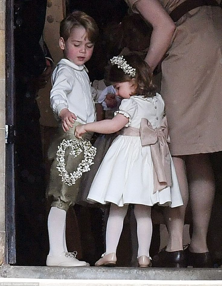 Kate, 35, stunned in the flattering peach number as she joined her husband Prince William in picturesque Berkshire village of Englefield for the society wedding of the year.
