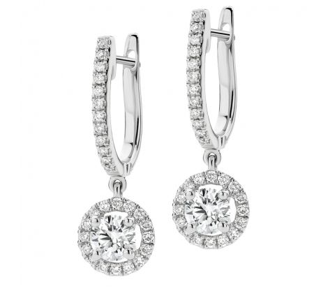 This pair of diamond earrings feature a huggie style fitting with a round, halo set diamond drop. They feature 1.00ct of diamonds TDW and are a stunning pair of dress earrings