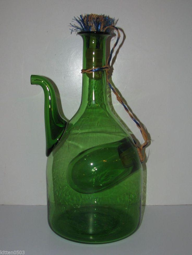 Vintage wine decanter green bottle ice chamber insert for Green italy