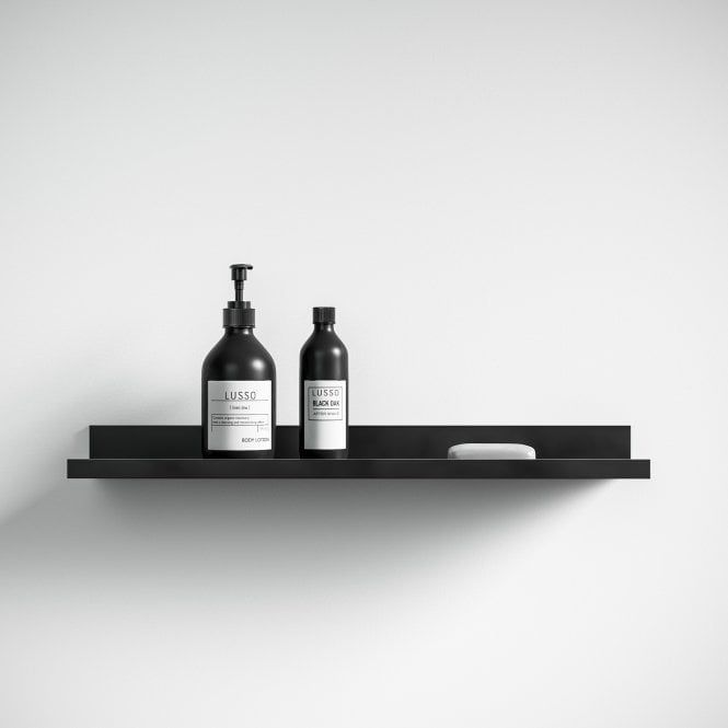 Designo Matte Black Floating Bathroom Shelf 600 Black Bathroom Accessories Bathroom Shelves Black Floating Shelves