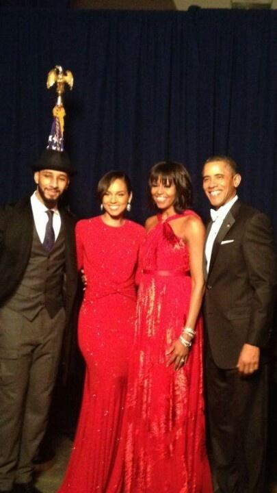 President Barack Obama With 1st Lady Michelle Obama & Alicia Keys With Husband Swizz Beatz.... Photo Courtesy Of Alicia Keys...