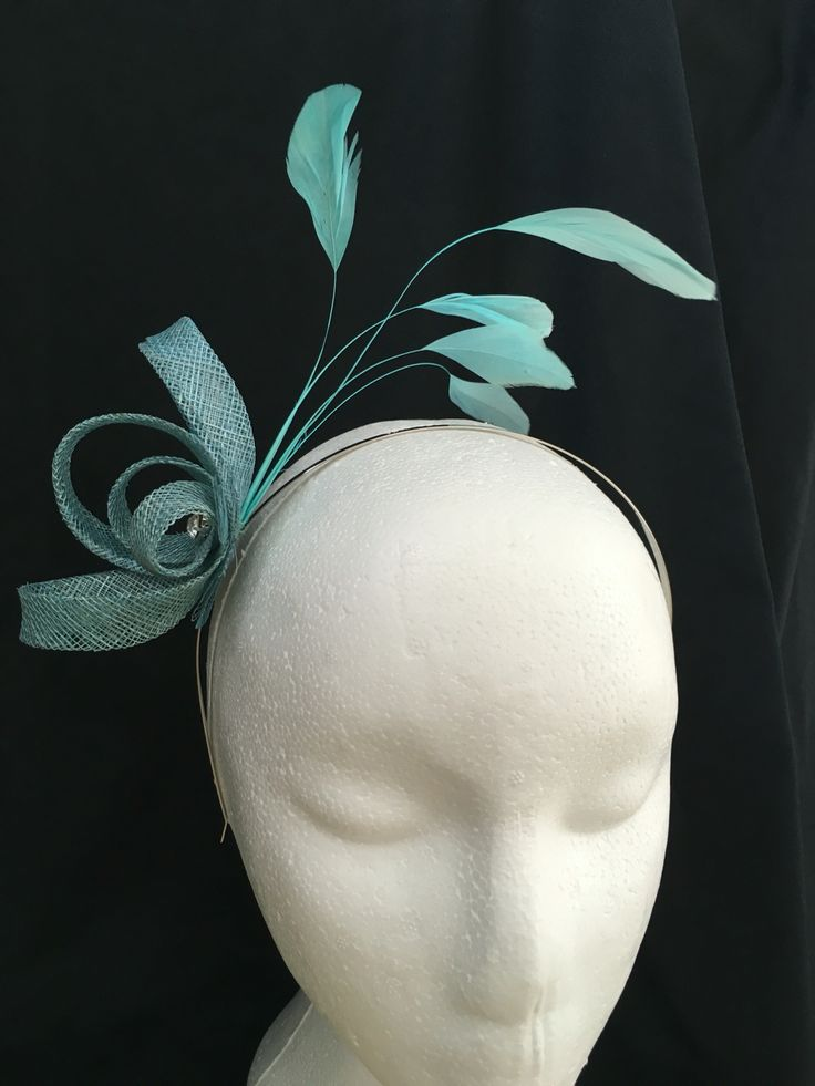Teal, blue, green fascinator hairband with coq feathers and diamanté - Welsh hats by Sian
