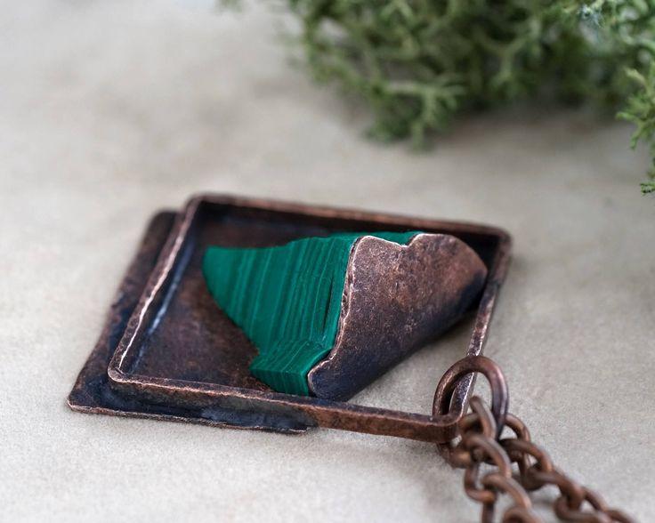 Malachite in copper, raw malachite, statement  necklace, metalwork, malachite necklace, natural stone, handmade by pentaxPL on Etsy