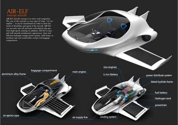 """Air-Elf"" Aircraft concept design by Yinze Hu, via Behance"
