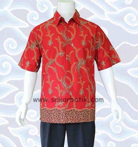baju kemeja batik pria merah 46
