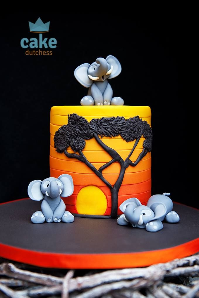 (1) Cake Dutchess - Elephants enjoying an African Sunset a tutorial...