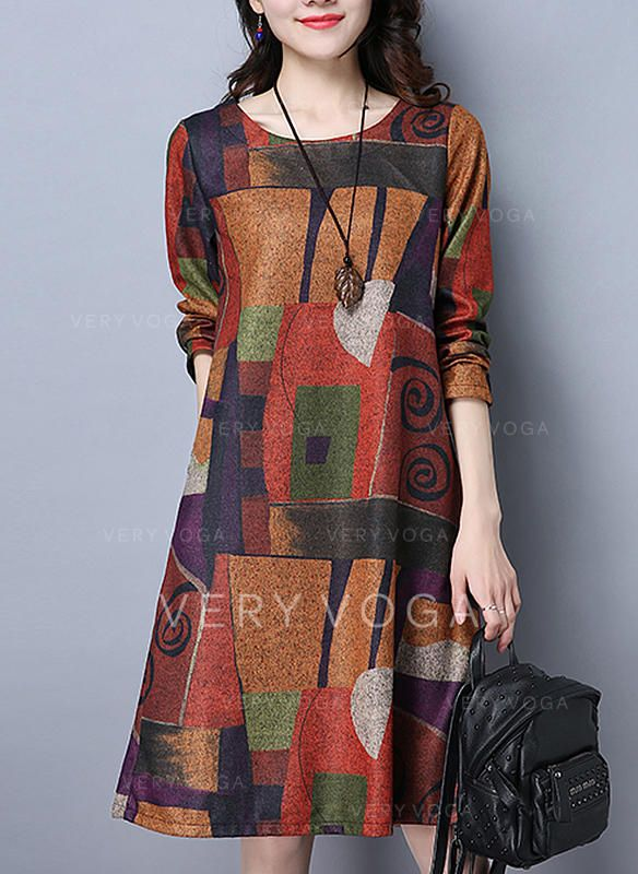 Print/Patchwork Long Sleeves Shift Knee Length Casual Dresses (199244947)