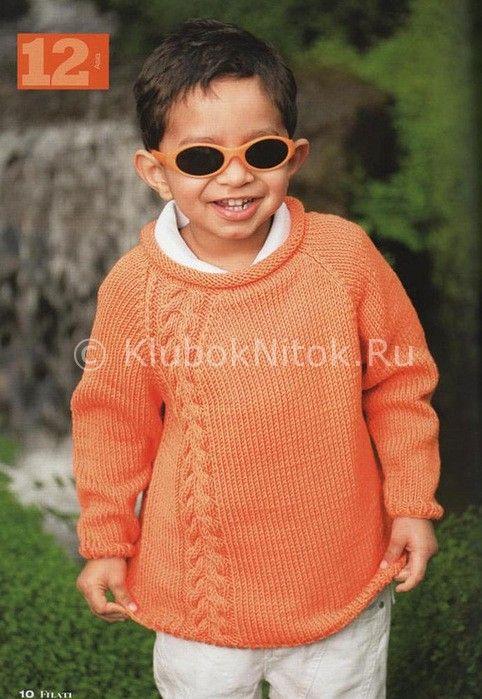 Пуловер морковного цвета | Вязание для детей | Вязание спицами и крючком. Схемы вязания.
