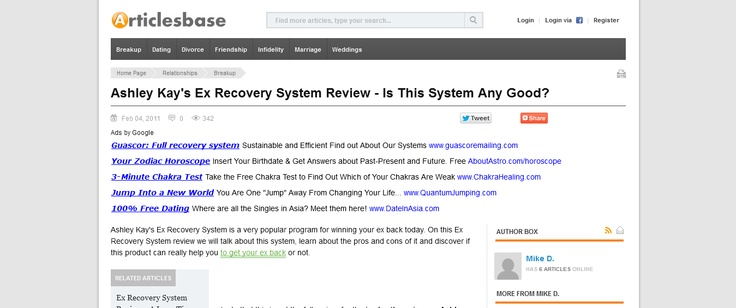 Ashley Kays Ex Recovery System Review - Is This System Any Good? --> www.articlesbase.com/breakup-articles/ashley-kays-ex-recovery-system-review-is-this-system-any-good-4168630.html