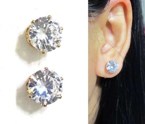 8mm Invisible Wedding Clip-on Earrings |11J| Comfortable Bridal Diamond Rhinestone Clip on stud earrings, Non Pierced earrings, Earrings