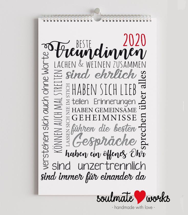 Monatswandkalender 2020 für die beste Freundin - tolles