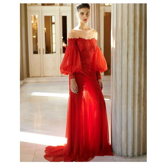 Fall 2018 rtw collection.  #costarellos #fw18 #fw2018 #pfw #rtw #parisfashionweek #reddress