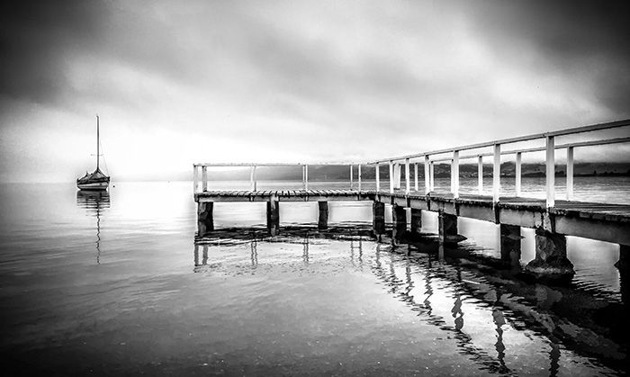 """""""THE PIER"""" (BLACK & WHITE) LOCATION: Lake Taupo (New Zealand)  DIMENSIONS: 762mm(w) x 508mm(h) / 1016mm(w) x 610mm(h)  MICHELLE GREEN GALLERY  © MICHELLE GREEN 2015"""