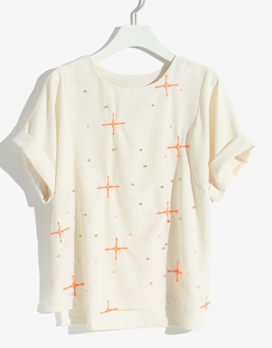 Apricot Short Sleeve Cross Embroidery Bead T-Shirt - Sheinside.com