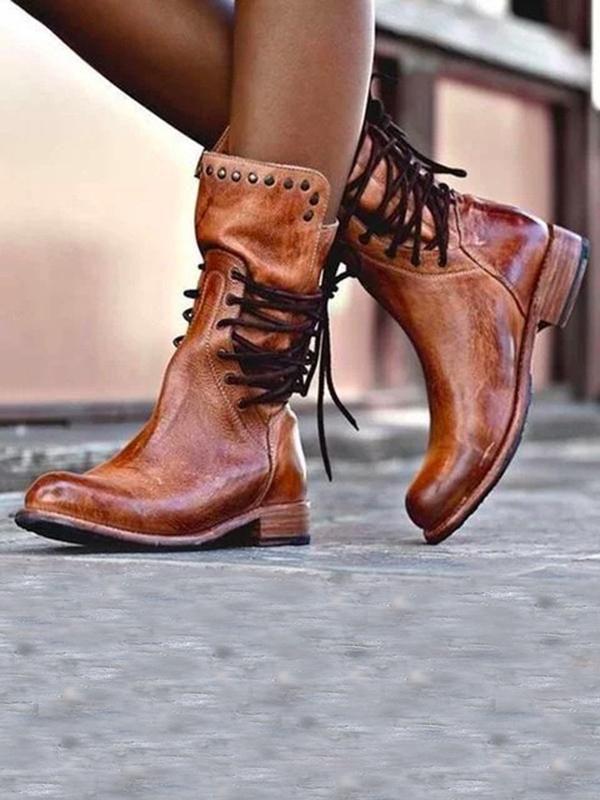 Low Heel Mid Calf Biker Boots – 24hrpop   Boots, Flat heel