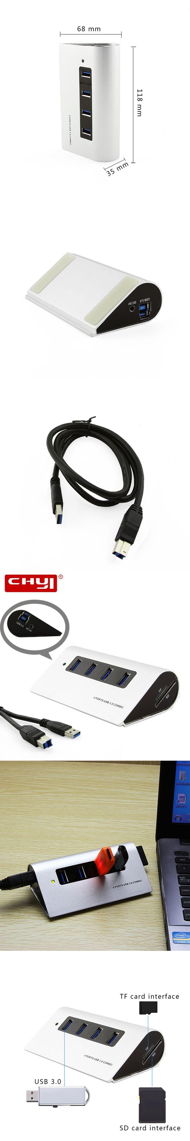 4 ports USB 3.0 HUB High Speed Mini Splitter Portable USB Hub with TF/SD