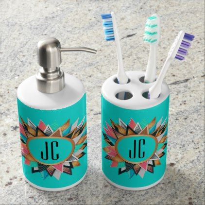 Turquoise and Southwestern Design in Multi-colors Soap Dispenser And Toothbrush Holder - monogram gifts unique custom diy personalize