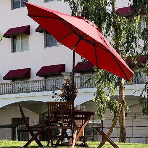 Abba Patio 9 Ft Market Aluminum Umbrella with Push Button Tilt and Crank, 8 Steel Ribs and Wind Vent, 100% Polyester, Red Abba Patio 9 Feet Tilting Market Patio Umbrellas Here comes the sun! Control the exposure to the sun by installing your outdoor furniture with an Abba Patio market umbrella. With the tilt and crank, this easy-to-use umbrella sets up and opens quickly. 8 flexible steel ribs support the canopy, so the fabric won't collapse on windy days. This durable umbrella w..