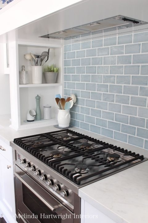 blue subway tile splash back, range good, marble bench top, Ilve freestanding over - Melinda Hartwright Interiors