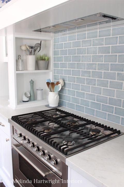 blue subway tile splash back, range good, marble bench top, Ilve freestanding over - Melinda Hartwright Interiors