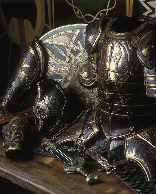 """""""The most extravagant of all armor created for LOTR was that of Theoden King. Marvel at this craftsmanship by Weta Workshop.""""  My favorite armor of all time, I might add."""