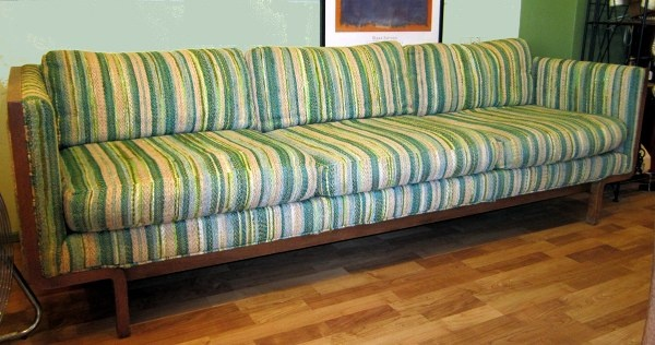 New Arrival Excellent Mcm 70 S Blue Green Striped Sofa Couch By Flair Broyhill Lane Catherine Holm Herman Miller