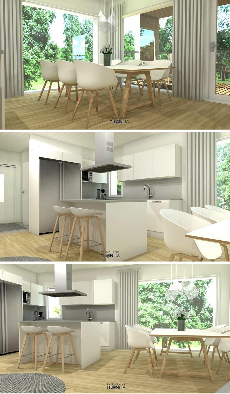 Rivitalon 3D-stailaus, Jyväskylä, Mannisenmäki/ Valkoinen keittiö, harmaa välitila ja taso, teräksiset kodinkoneet, Hay-tuolit, valkovahattu tammiparketti/ Rakennus Kellosaari OY/3D-sisustus Tilanna